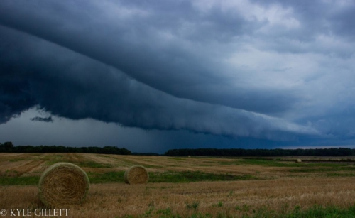 Approaching shelf cloud over farm land near the Ohio Boarder. Waldron, Michigan. August 2019 - Kyle Gillett